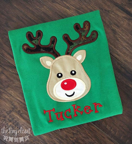 Personalized Boys Reindeer Shirt- Camo Antler