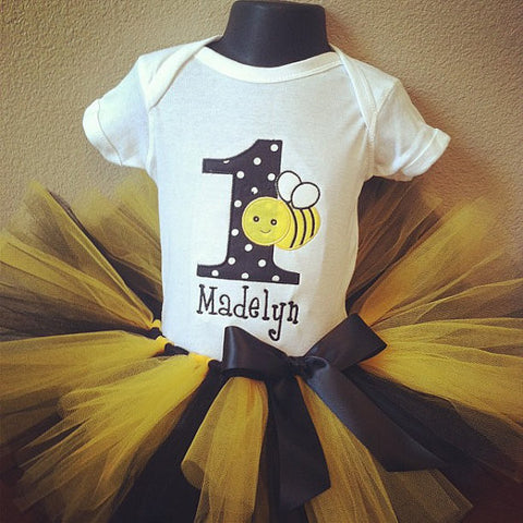 Personalized Bumble Bee Birthday Tutu Set