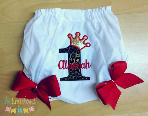 Personalized Princess Birthday Bloomer- Cheetah & Gold