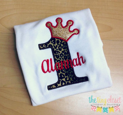 Personalized Princess Birthday Design- Cheetah & Gold
