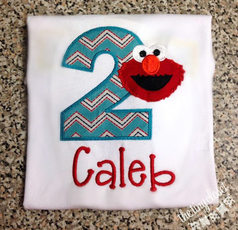 Personalized Elmo Birthday Design - Teal Chevron
