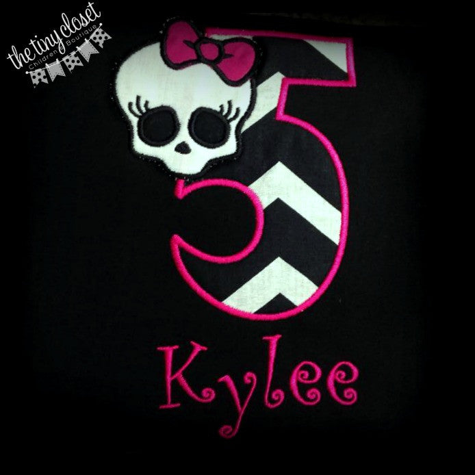Personalized Monster High Birthday Design - Black Chevron