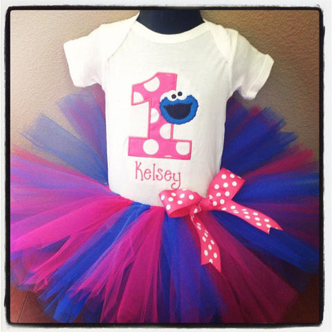 Personalized  Cookie Monster Birthday Tutu Set