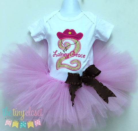 Personalized Cowgirl Birthday Tutu Set