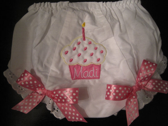Personalized Candle Cupcake Bloomer