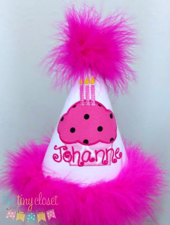 Personalized Cupcake Party Hat- Pink & Hot Pink