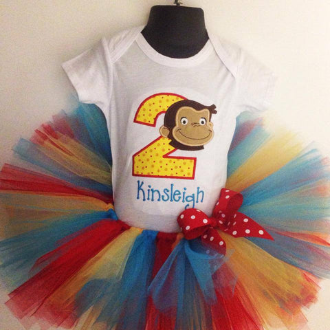 Personalized Curious George Birthday Tutu Set