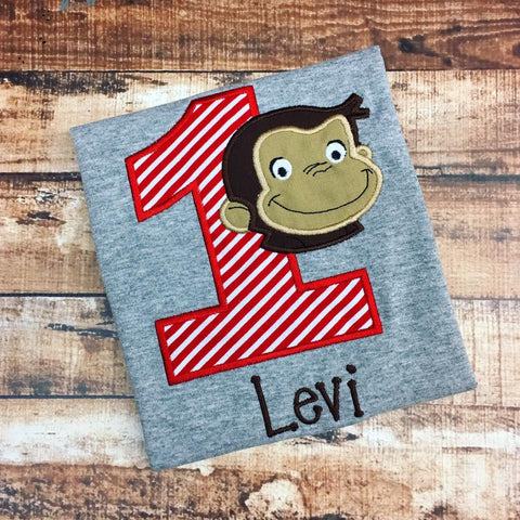 Personalized Curious George Birthday Design- Red Stripe