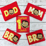 Personalized Curious George Birthday Design- Yellow chevron