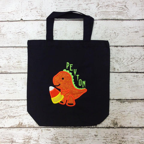 Personalized Candy Corn Dino Trick or Treat Bag