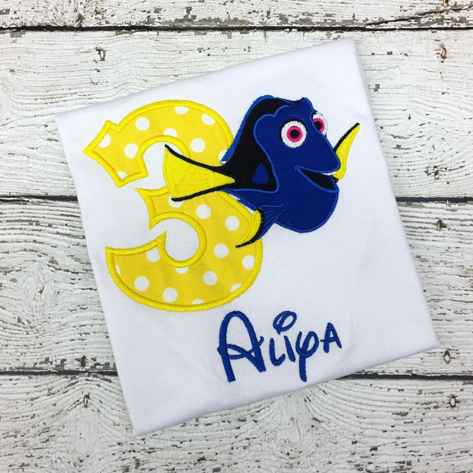 Personalized Finding Dory Birthday Design - Yellow Dot