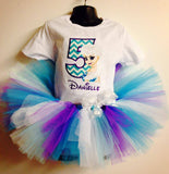 Personalized Frozen Elsa Birthday Tutu Set - Blue Chevron