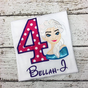 Personalized Frozen Elsa Birthday Design- Hot Pink Dot