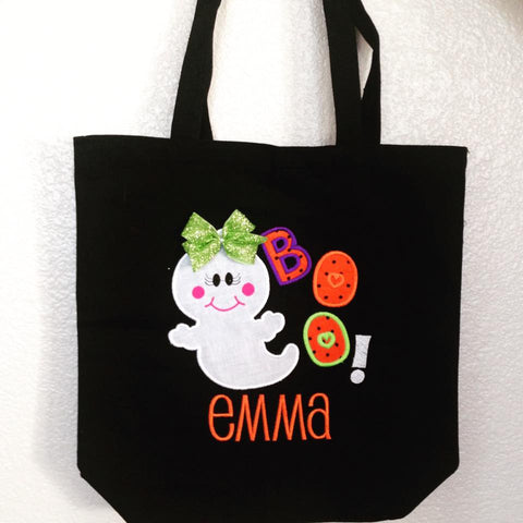 Personalized Girly Ghost Trick or Treat Bag