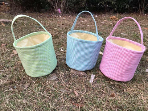 Gingham Easter Bucket - Green