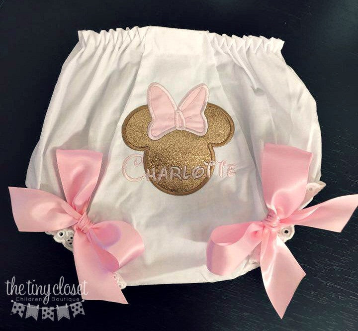 Personalized Minnie Mouse Bloomer- Pink & Gold glitter