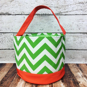 Personalized Chevron Trick or Treat Bucket- Green