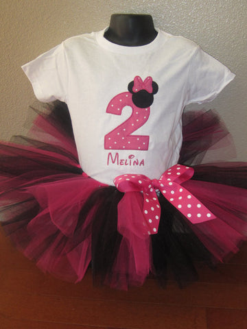 Personalized Minnie Mouse Birthday Tutu Set - Tiny HP Dot