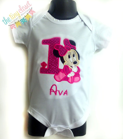 Personalized Baby Minnie Mouse Birthday Design - Hot Pink Sequin