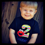 Personalized Elmo Birthday Design- Primary Stripe