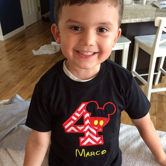 Personalized Mickey Mouse Birthday Design - Red Chevron
