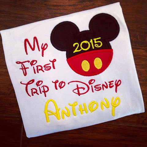 Personalized My First Trip to Disney Design-  Yellow Text