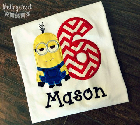 Personalized Minion Birthday Design- Red Chevron- Kevin
