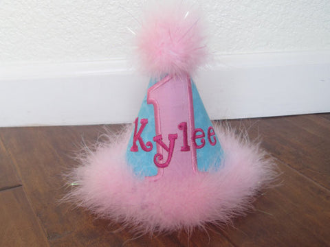 Personalized Birthday Party Hat -  Pink & Aqua