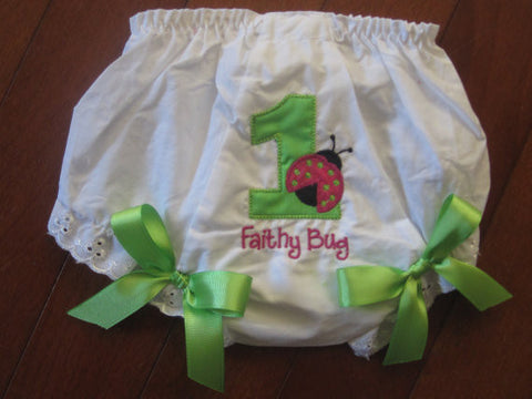 Personalized Lime Ladybug Bloomer