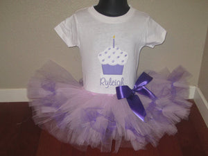 Personalized Candle Cupcake Birthday Tutu Set - Lavendar