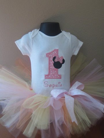 Personalized Minnie Mouse Birthday Tutu Set - LT Pink Dot Silo
