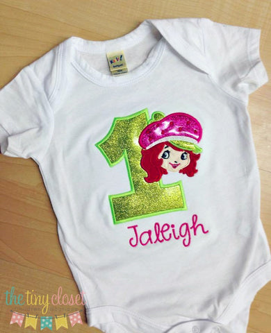 Personalized Strawberry Shortcake Birthday Design- Glitter Vinyl