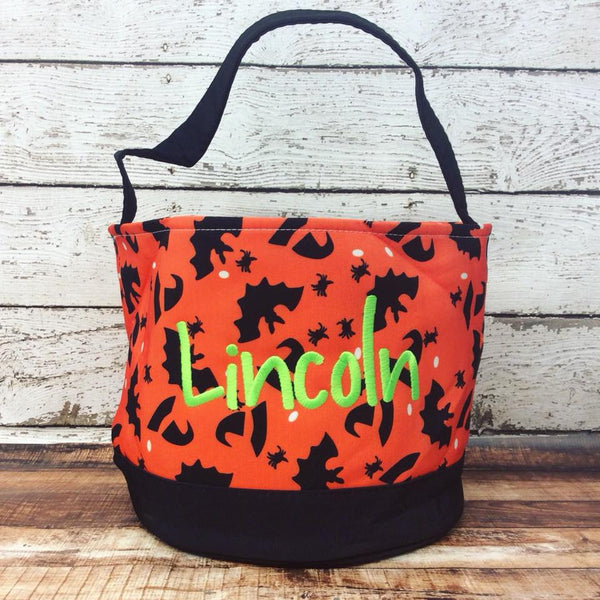 Personalized Witches/Bats Trick or Treat Bucket