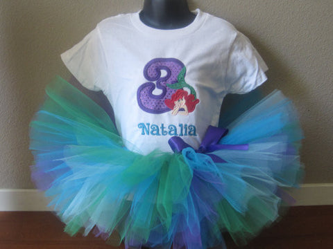 Personalized My Little Mermaid Ariel Birthday Design Purple Sequin TheTinyCloset