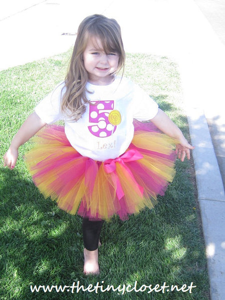 Personalized Lollipop Birthday Tutu Set - HP & Yellow