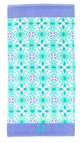 Sea Tile Beach Towel- Monogrammed