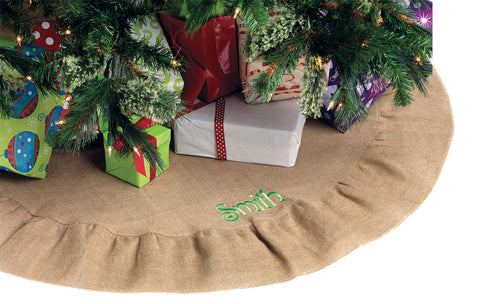 Personalized Burlap Ruffle Tree Skirt
