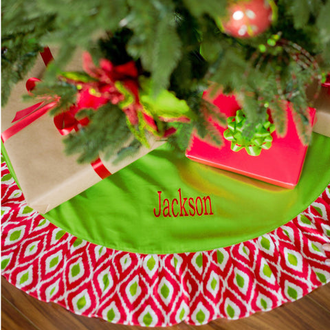 Personalized Holiday Ikat Tree Skirt