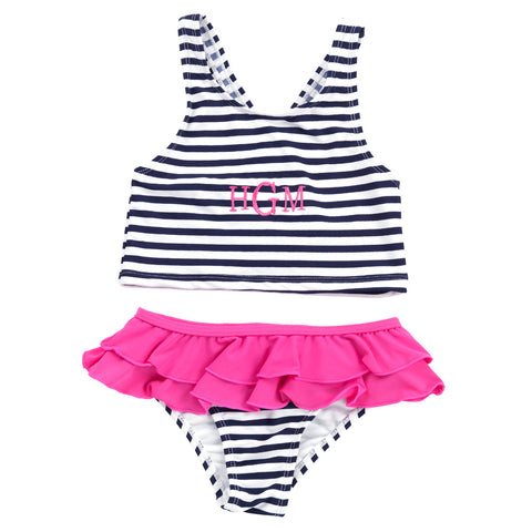 Girls Stripe Monogram Two-Piece Swimsuit