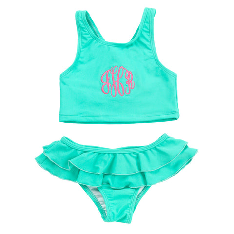 Girls Mint Monogram Two-Piece Swimsuit