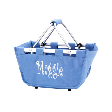 Personalized Mini Market Tote - Blue Hydrangea