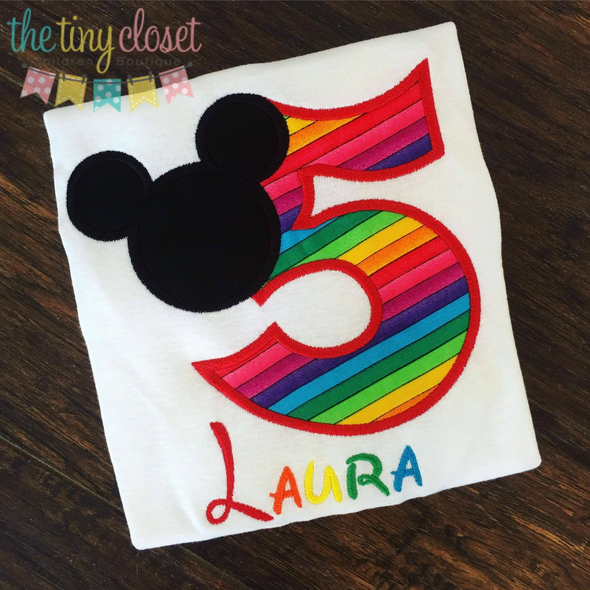 Personalized Mickey Mouse Birthday Design - Rainbow Silo