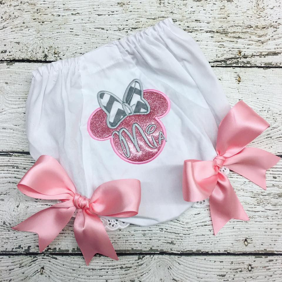 Personalized Minnie Mouse Bloomer- Glitter & Chevron