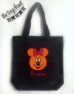 Personalized Minnie Mouse Pumpkin Head Trick or Treat Bag