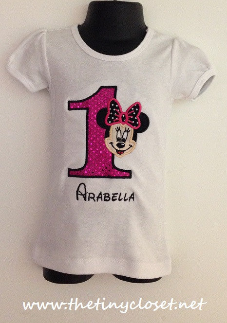 Personalized Full Face Minnie Mouse Birthday Design- Hot/ Black Dot