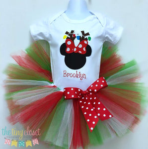 Personalized Minnie Mouse Antler & Lights Holiday Tutu Set