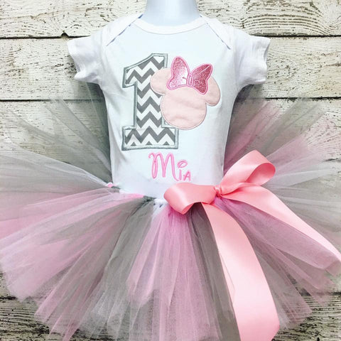 Personalized Minnie Mouse Birthday Tutu Set - Grey Chevron & Pink