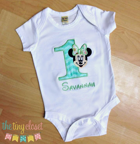 Personalized Full Face Minnie Mouse Birthday Design- Mint