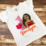 Personalized Pink Glitter Moana Birthday Design