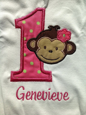 Personalized Mod Monkey Girl Birthday Design- Hot pink & Lime